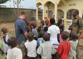 The children were so excited to meet the visitors and never left their sides. Here Megan and Nathan get introduced to Hosea, the Orphanage Manager and the children. Hosea is able to speak broken English. The kids speak Swahili and French.